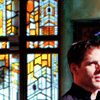 cantarina: cam mitchell with atlantis stained glass behind him (sg - cam)