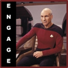 "lizcommotion: Patrick Stewart in Star Trek attire with the caption ""Engage"" (Engage)"