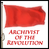 sofiaviolet: red flag, text: archivist of the revolution (archivist)