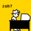 "ouyangdan: white stick-figur-ish guy on yellow background at computer desk saying ""zuh""? (yahtzee zuh)"