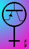eftychia: Female (Venus) symbol, with a transistor symbol inside the circle part (TransSister)