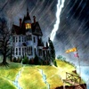 athousandsmiles: a spooky house with lightning striking close by (haunted house)