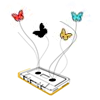 frangipani: butterflies flying out from a cassette tape (it flies with music from our lips)