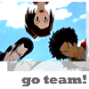 "esmenet: Mugen, Fuu, and Jin, with the caption ""Go Team!"" (go team!)"