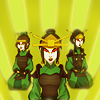 esmenet: Azula, Mai, and Ty Lee in Kyoshi Warrior clothes (dangerous Kyoshi ladies)