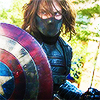 i_knew_him: The Winter Soldier has seized Captain America's shield during a fight (red and white stars)