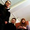elfin: image: alt-charlie, alt-lincoln, alt-olivia looking down at something (fringe.alt team)