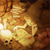 tragedy_virus: girl in a witch hat surrounded by books, reading a book, with a skull candle holder providing light (reading a book)