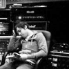 were_duck: black and white sot of Pete Wentz slouched in a chair in a recording studio-type space looking sleepy. (Pete needs a nap)