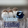 wendelah1: Four birds on a branch, three gray, one blue; text is fannish statistical anomaly (fannish statistical anomaly)