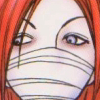 elena: Shin has red hair and pale blue eyes, the lower half of his face covered in bandages (sadistic sakura)