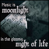 "paintbynote: sheets of music in a sliver of moonlight, text reads ""Music is moonlight in the gloomy night of life"" (Music is Moonlight)"
