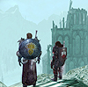 isagel: My Dragon Age: Origins character and Alistair, looking out over the ruins of Ostagar. (dragon age vista)