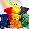 batdina: six stuffed bears in bright colors (rainbow bears)