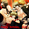 "jojos_birthday: A bunch of pretty boys in various states of dishabile and restraint, with text ""Happy Birthday, Jojo!"" (birthday wishes, pretty boys)"