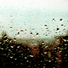 majoline: Raindrops pooling on a wet piece of glass - hazy background (wet glass)