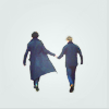 sentientcitizen: John and Sherlock walk off into a pale blue background. (BBC's SH - Sherlock and John)