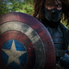 kaydeefalls: winter soldier holding cap's shield (winter soldier)