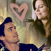 china_shop: A manip of Neal gazing adoringly at El and her smiling at him, from 2.10 (WC - Neal/Elizabeth heart)