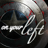 "china_shop: Captain America's shield with the words ""On your left"" (MCU On Your Left shield)"
