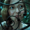 lark_in_flight: Cosette smiling up through a wrought-iron gate (teasing and cajoling)