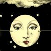 outlineofash: Illustration of the moon with a woman's face (The woman in the moon)