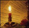 sashajwolf: photo of candle with manuscript music (candle with music)