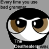 "sashajwolf: Potterpuffs cartoon: ""Every time you use bad grammar the Deatheaters win"" (grammar/deatheaters)"