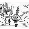 turlough: Little My bathing in a puddle, art by Tove Janson from 'Moominsummer Madness' ((moomin) reflections)
