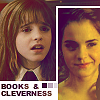 "sashajwolf: photos of Hermione with text ""books and cleverness"" (books and cleverness)"