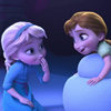 xenacryst: Frozen: young Elsa and Anna making magic (Frozen sisters)