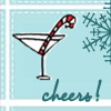 "sashajwolf: cartoon of champagne flute with candy cane and text ""cheers"" (new year)"