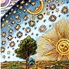 sashajwolf: coloured woodcut of sun, moon and stars (copernicus)