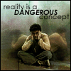 "lizwithhat: photo of Blake with text: ""reality is a dangerous concept"" (reality is dangerous)"