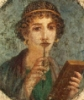 "92_lina: Porträt eines Mädchens (Woman with wax tablets and stylus (so-called ""Sappho"")). (sappho)"