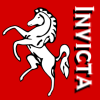 sharpiefan: Picture of a rearing white horse on a red background with the word Invicta (Invicta)