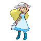 raininshadows: Sprite of a young woman with long blonde hair, wearing a pale blue dress, a white hat, and blue boots. (lady rain) (Default)