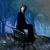 kate: Sam from Supernatural, sitting on a park bench, looking perplexed (SPN: Sam on a park bench)