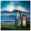 sweet_nothings: 3 portals standing on a grassy landscape, all lead to different worlds (choices)