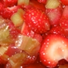 bikingandbaking: close-up of strawberries and rhubarb in sugar syrup (strawberry-rhubarb)