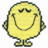 "hyperbole: Mr Happy from ""Mr Men and Little Miss"" in a cross-stitch design made by me. (Mr Happy)"