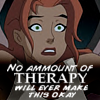 "lisaquestions: Hawkgirl from Justice League cartoon looking shocked with the words ""No amount of therapy will ever make this okay."" (Hawkgirl therapy)"