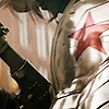 mortalcity: Bucky's metal arm, with red star, and gun in background (Marvel | paint it red to fit right in)