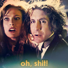 """komiiro: A picture of the 8th Doctor & Grace, looking alarmed, caption, """"Oh Shit!"""" (Oh shit!)"""
