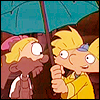 imagined_away: Arnold holding his umbrella over Helga's head on their first day of preschool (Love at first site)