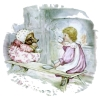 beatrice_otter: A Beatrix Potter illustration of Mrs Tiggy-Winkle and Lucie having tea. (Mrs Tiggy-Winkle)