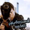 seraphina_snape: Joss Carter from the TV Show Person of Interest, looking through the scope of a rifle, text: professional badass (POI_ Carter, professional badass)