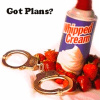 "ladyjane: whipped cream and hand-cuffs. ""Got Plans?"" (Pillowfight)"
