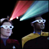 christomanci: Captain Janeway and Lt.Cmdr. Tuvok from Star Trek: Voyager watching a 3D movie with 3D glasses on. ([Star Trek: Voyager] 3D Movie)
