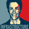 "christomanci: A picture of Rachel Maddow in the blue and red Shepard Fairey poster style with the words ""Infrastructure"". ([Rachel Maddow] Infrastructure)"